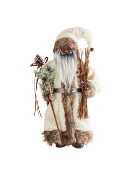"18"" African American Santa With Ivory Fur Coat by Pier1 Imports"