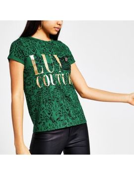 Green Animal Print Short Sleeve T Shirt by River Island