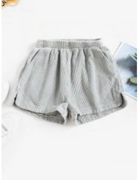 Hot High Waisted Slit Pockets Corduroy Shorts   Gray M by Zaful
