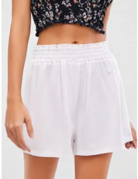 Salezaful Solid Smocked High Waisted Shorts   White S by Zaful