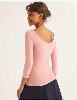 Double Layer Scoop Back Top   Chalky Pink by Boden