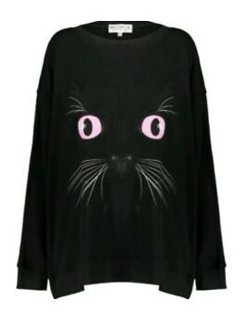 Bnwt   Wildfox   Black Cat Rock Goth Sweatshirt Sweater Jumper   Size S by Wildfox