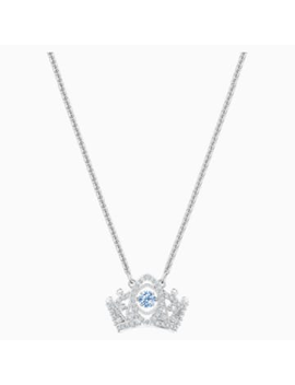 Bee A Queen Pendant, Blue, Rhodium Plated by Swarovski