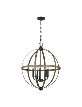 Calhoun 24 In. W 5 Light Weathered Gray Rustic Farmhouse Orb Chandelier With Distressed Oak Globe Finish Accents by Sea Gull Lighting