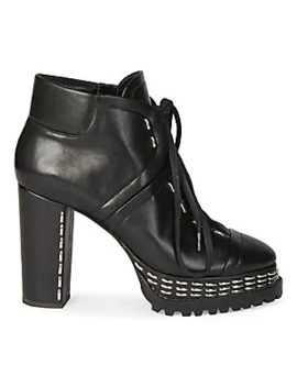 Studded Leather Platform Ankle Boots by Alaïa