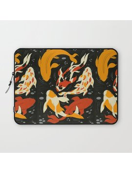 Koi In Black Water Laptop Sleeve by Society6