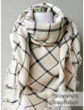 Zara Oversized Plaid Blanket Scarf, Tartan (Ivory With Stripes) by Zara