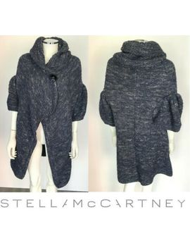 Stella Mc Cartney Blue Alpaca Blend Short Sleeve Knit Cardigan Sweater Sz It 38 2 by Stella Mc Cartney