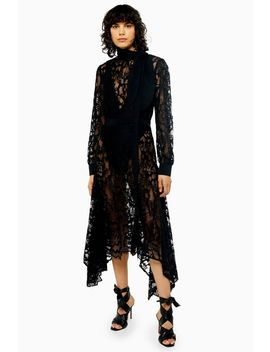 Idol Black Lace Pussy Bow Midi Dress by Topshop