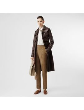 Monogram Print Silk Tailored Trousers by Burberry