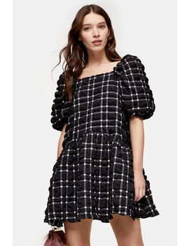 Black And White Checked Mini Bubble Dress by Topshop