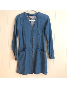 Vtg 90s Western Blue Jean Button Up Shirt Dress S by Vintage