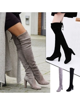 Women's Over Knee High Boot Lace Up High Heel Long Thigh Boots Shoes by Wish