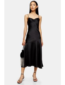 Black Ruched Bias Satin Slip Dress by Topshop