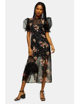 Black Floral Printed Organza Midi Dress by Topshop