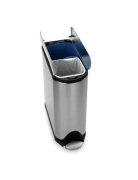 Simplehuman® Brushed Stainless Steel Fingerprint Proof 40 Liter Butterfly Recycler Trash Can by Bed Bath And Beyond