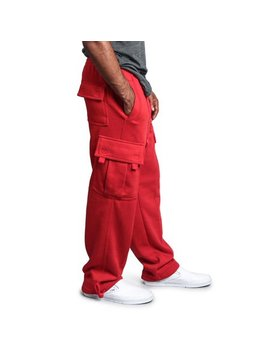 G Style Usa Men's Solid Fleece Heavyweight Cargo Pants Fl77   Red   Small by G Style Usa