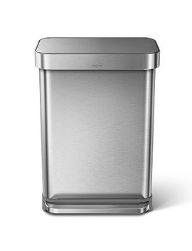 Simplehuman 55 Ltr Rectangular Step Trash Can Brushed Stainless Steel by Simplehuman