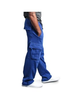 G Style Usa Men's Solid Fleece Heavyweight Cargo Pants Fl77   Royal Blue   Small by G Style Usa