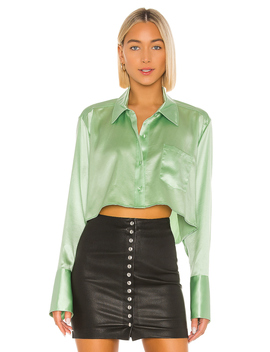 Wet Shine & Go Cropped Blouse by T By Alexander Wang