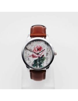 Vintage Rose Watch,Vintage Style Leather Watch, Women Watches, Girlfriend Watch, Valentine's Gift by Etsy