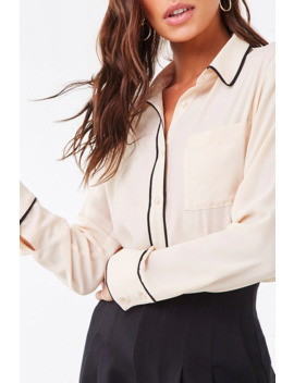 Textured Contrast Trim Shirt by Forever 21
