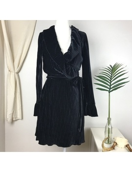 Nwt Charles Henry Black Ruffle Pleated Wrap Dress   Nwt by Charles Henry