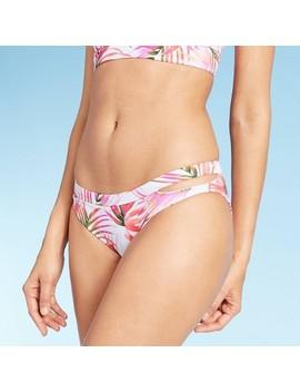 Women's Side Cut Out Hipster Bikini Bottom   Shade &Amp; Shore™ White Palm Print by Shade & Shore
