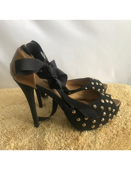 Shoes Of Soul Black/Vintage Gold Stud Heels by Shoes Of Soul