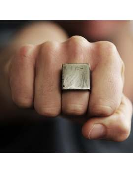 Silver Ring Men Matte Oxidized Rustic Square Personalized Rings by Etsy