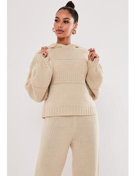 Stone Co Ord Chunky Knitted Hoodie by Missguided