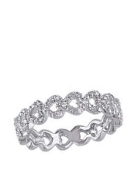 Diamond Accent Heart Link Ring In Sterling Silver by Belk & Co.
