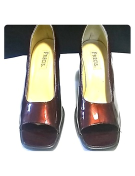 Precis Size 10 Burgundy Patent Leather Heels P013 F by Precis