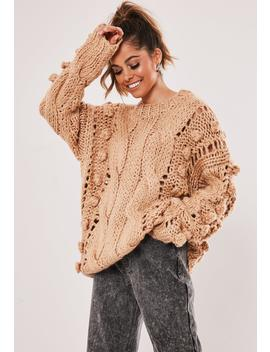 Premium Tan Bobble Cable Knit Sweater by Missguided