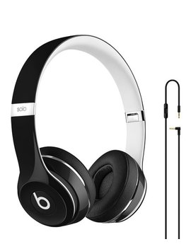 Refurbished Black Beats Solo2 Luxe Edition Wired On Ear Headphones by Beats By Dre
