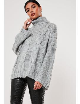 Gray Cable Knit Extreme Oversized Roll Neck Sweater by Missguided