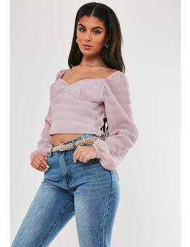 Mauve Pleated Long Sleeve Milkmaid Top by Missguided