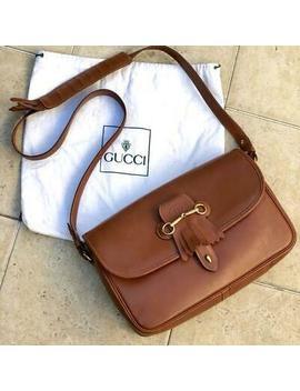 Rare Gucci Shoulder Bag Hose Bit Fringe Vintage Old (P3721 by Gucci