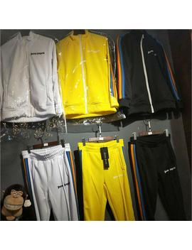 18 Ss Joggers Palm Angels Jackets Autumn Winter Streetwear Yellow Palm Angels Jacket Casual Rainbow Striped Jackets by D Hgate.Com