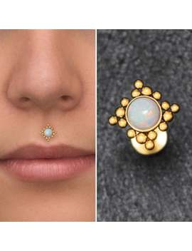 Monroe Lip Ring Surgical Steel, Philtrum Piercing Jewelry Opal, Flat Back Lip Earring, Medusa Labret Stud by Etsy