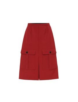 High Rise Wool Crêpe Skirt by Chloé