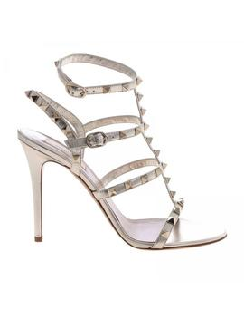Valentino Rockstud Ankle Strap Sandal In Laminated Leather With Metal Studs by Valentino Garavani
