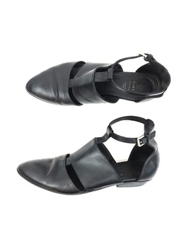 Vintage | Leather Flats Strappy Cut Out T Strap by Vintage