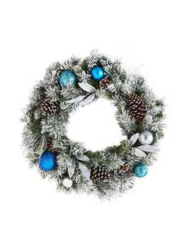 "24"" Blue Flocked Pinecone &Amp; Ornament Wreath by Jingle Ball Collection"