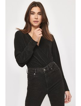 Long Sleeve Wrap Top by Dynamite