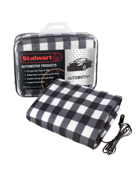 Electric Car Blanket  Heated 12 Volt Fleece Travel Throw For Car And Rv Great For Cold Weather, Tailgating, And Emergency Kits By Stalwart Black/White by Stalwart
