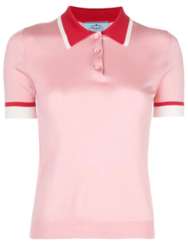 Contrast Collar Polo Shirt by Prada