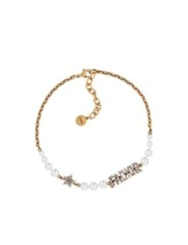 White Resin Bead And Crystal 'J'adior' Antique Gold Finish Choker by Dior