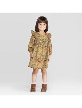 Toddler Girls' Ruffle Floral Dress   Art Class™ Olive by Art Class