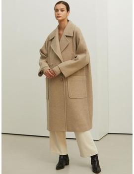 Beige Long Double Wool Coat by Lookast